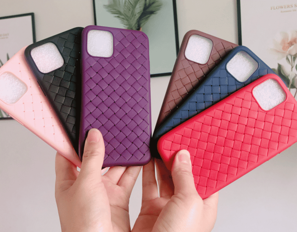 This case is made for the iPhone 11 Pro Max that has a weave style looking and has a touch of a leather design.