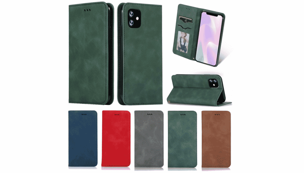 This iPhone 11 Pro Max case also comes with a kickstand and is made out of leather.