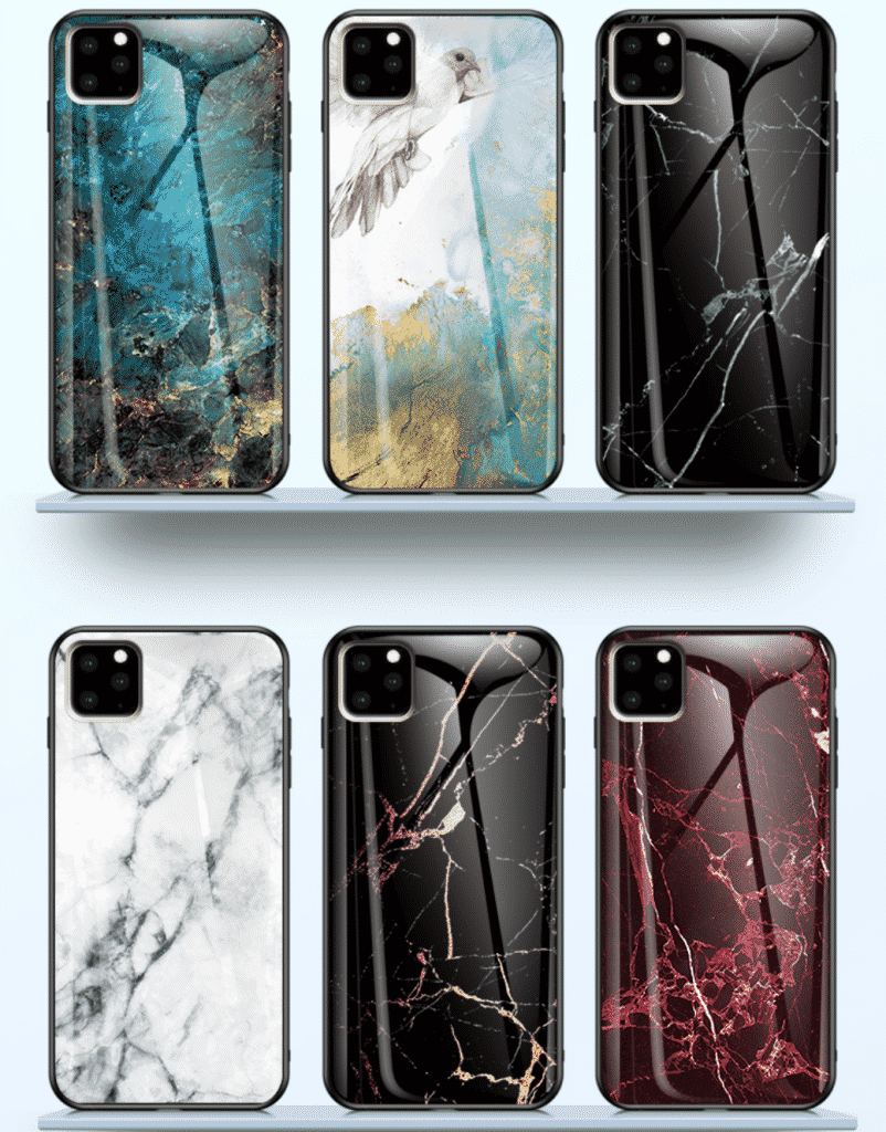 iPhone 11 Pro case by KEYSION with Tempered Glass marble design