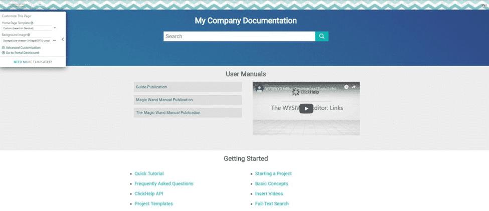 your documentation portal branding