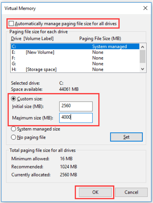 Automatically manage paging file size for all drives