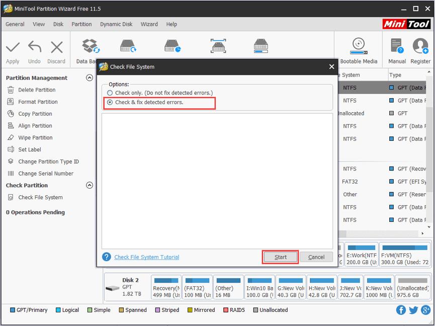 Check & fix detected errors