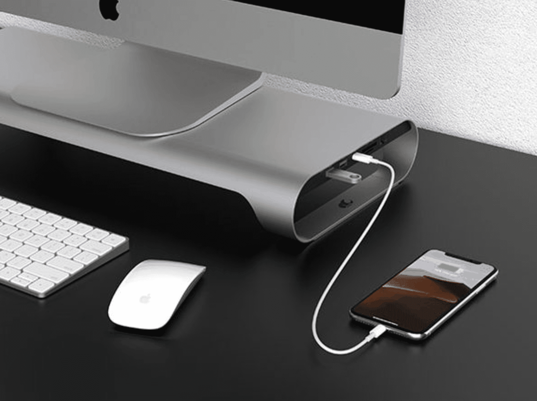 ProBASE X Aluminum Monitor Stand with Fast-Charging Port