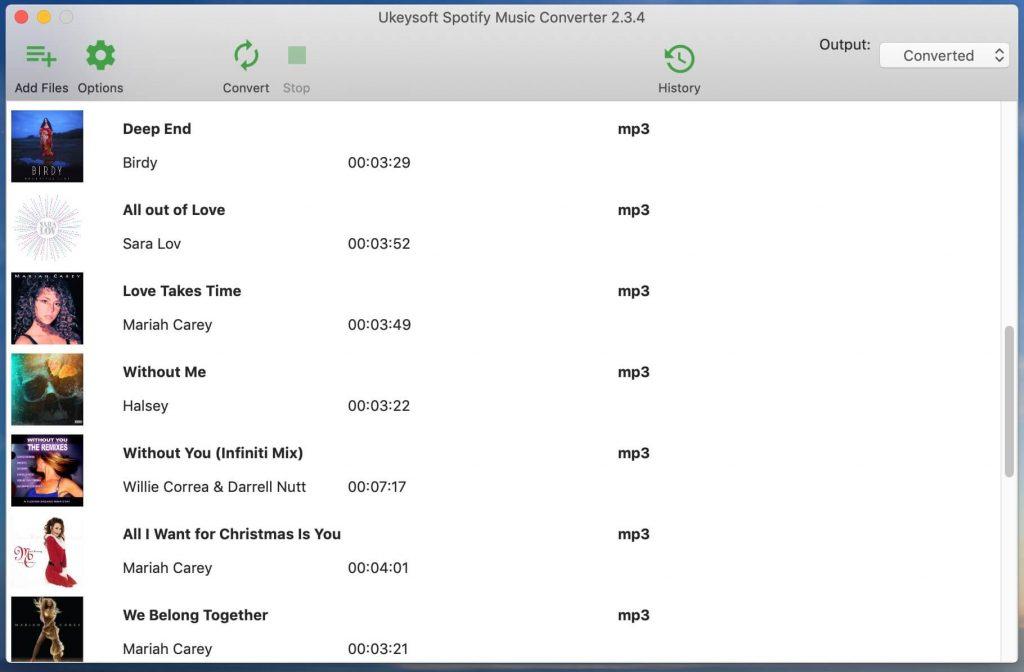 UkeySoft Spotify Music Converter  songs list