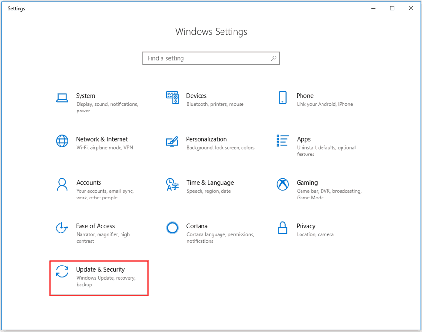 the Settings interface
