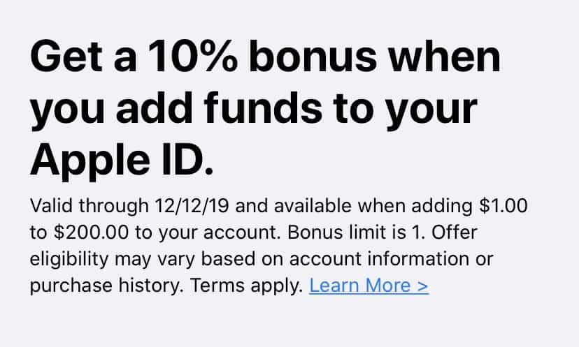Apple users can get an extra 10% iTunes credit by adding funds to Apple ID 1