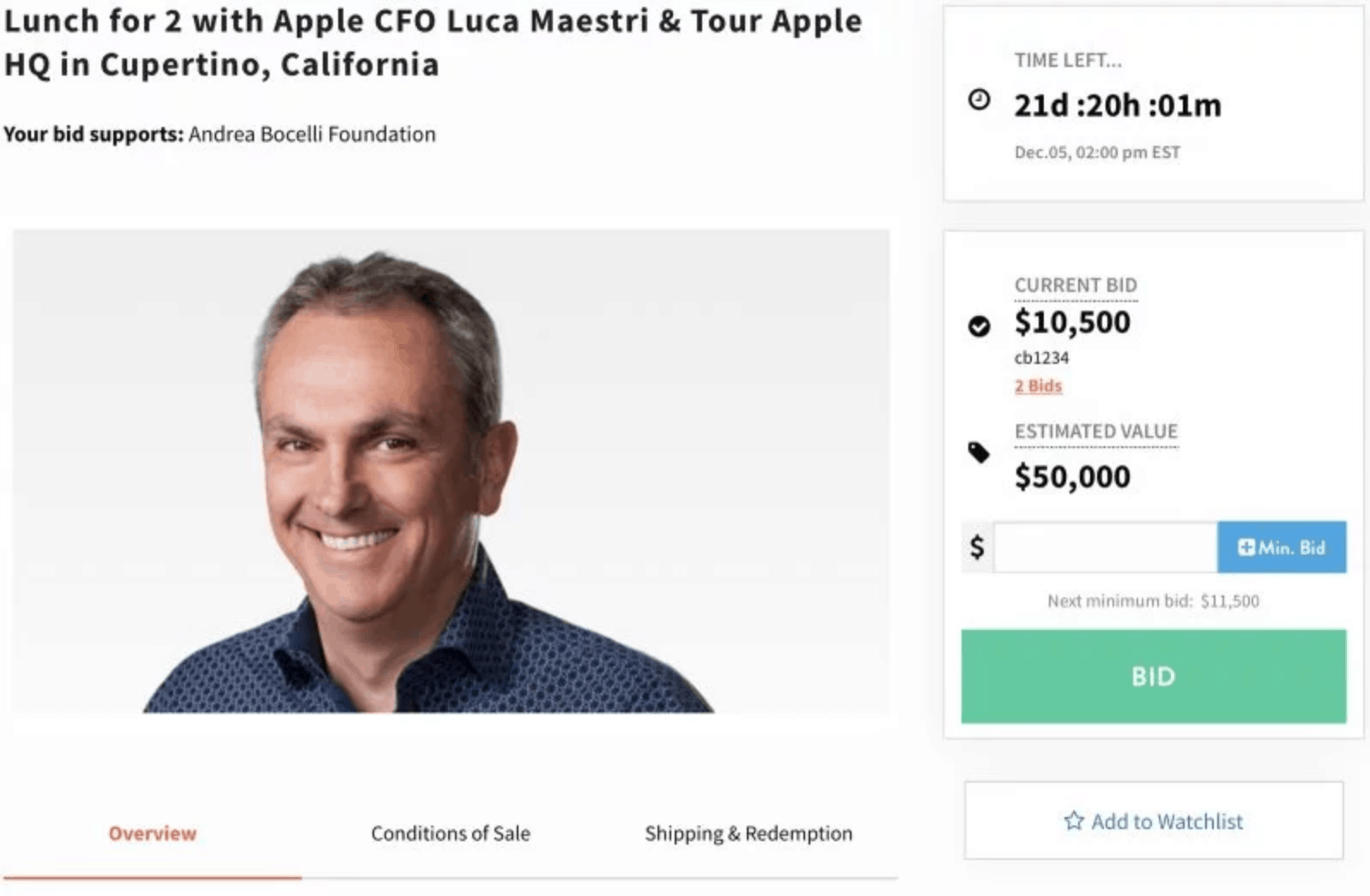 Apple CFO Sets Apple HQ Tour and Lunch for Charity
