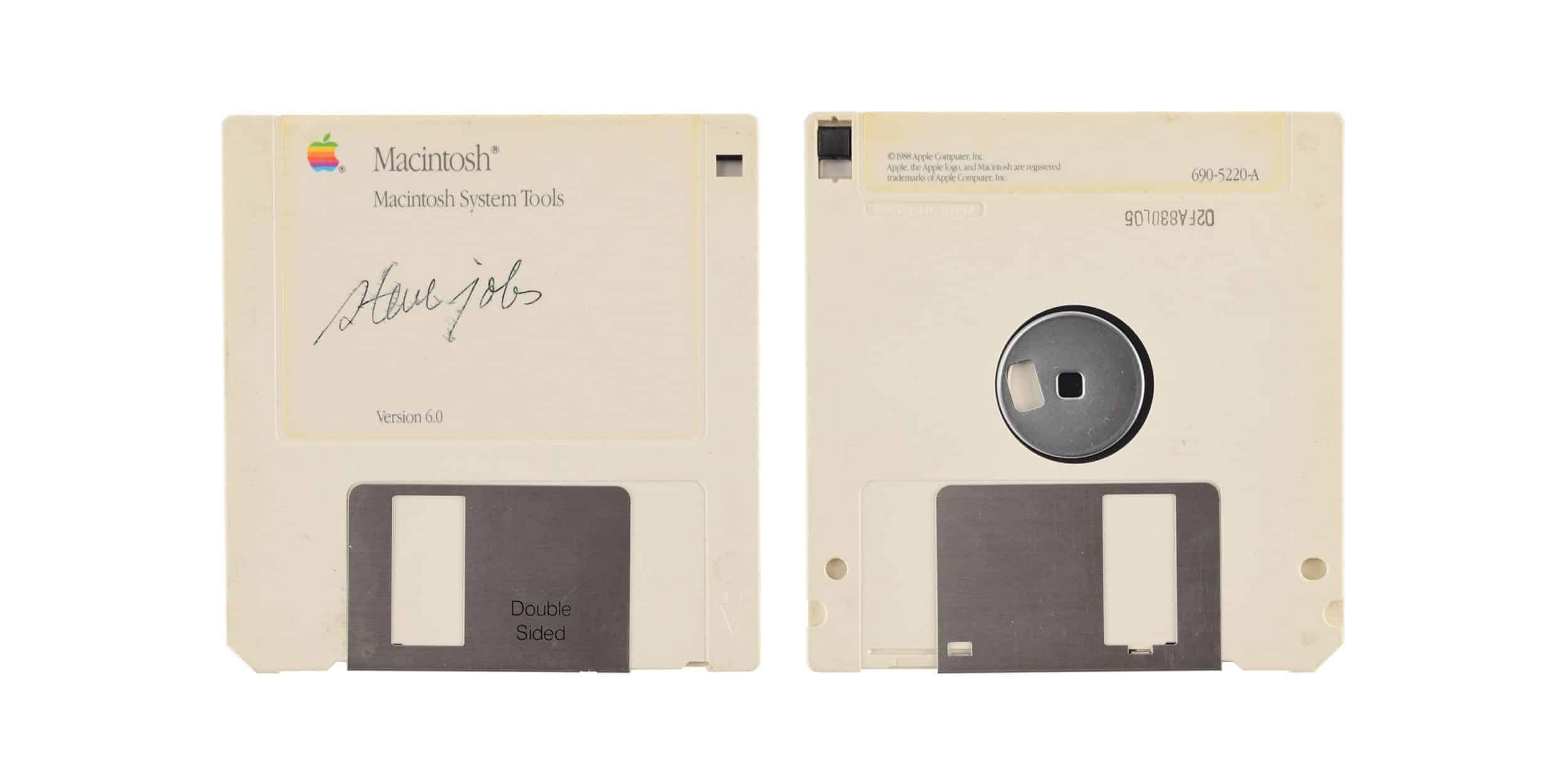 Floppy disk signed by Steve Jobs