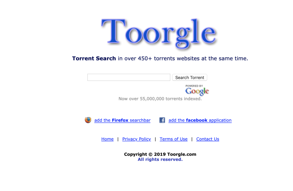 Screenshot of Toorgle Torrent Search Engine