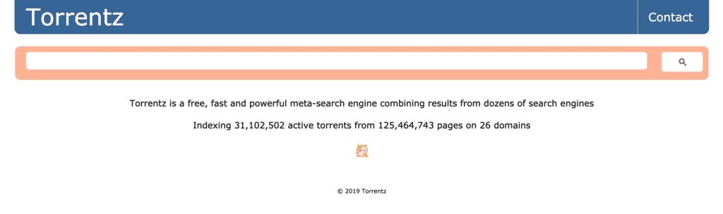 Screenshot of Torrentz2 Torrent Search Engine