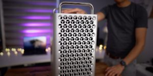 This is the Mac Pro by Apple.
