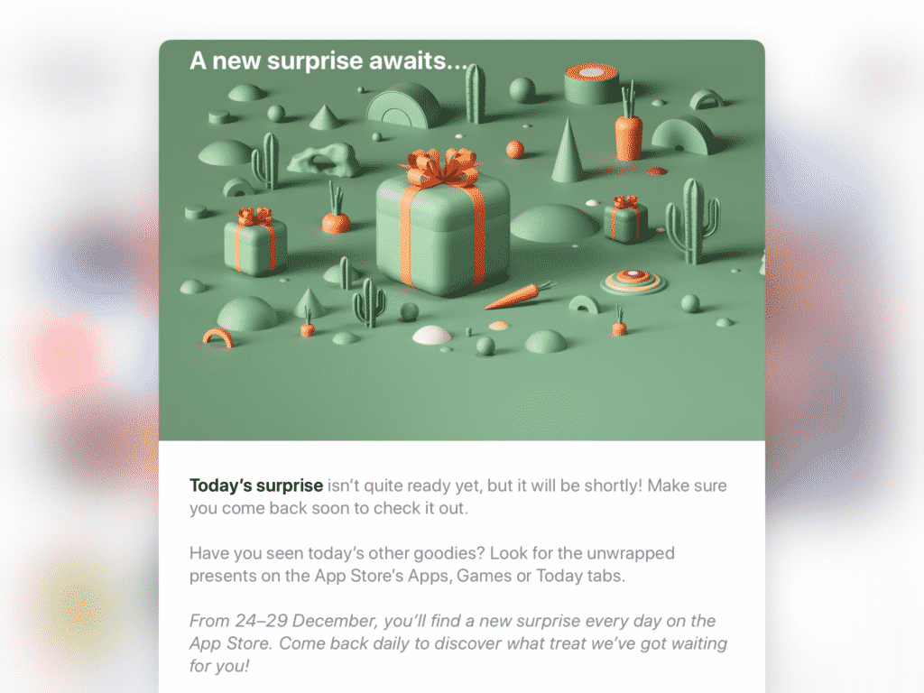 Apple's 'surprise' holiday App Store promotion is now live