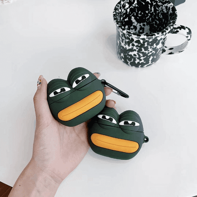 This is a Pepe Frog Silicone case for the AirPods Pro.