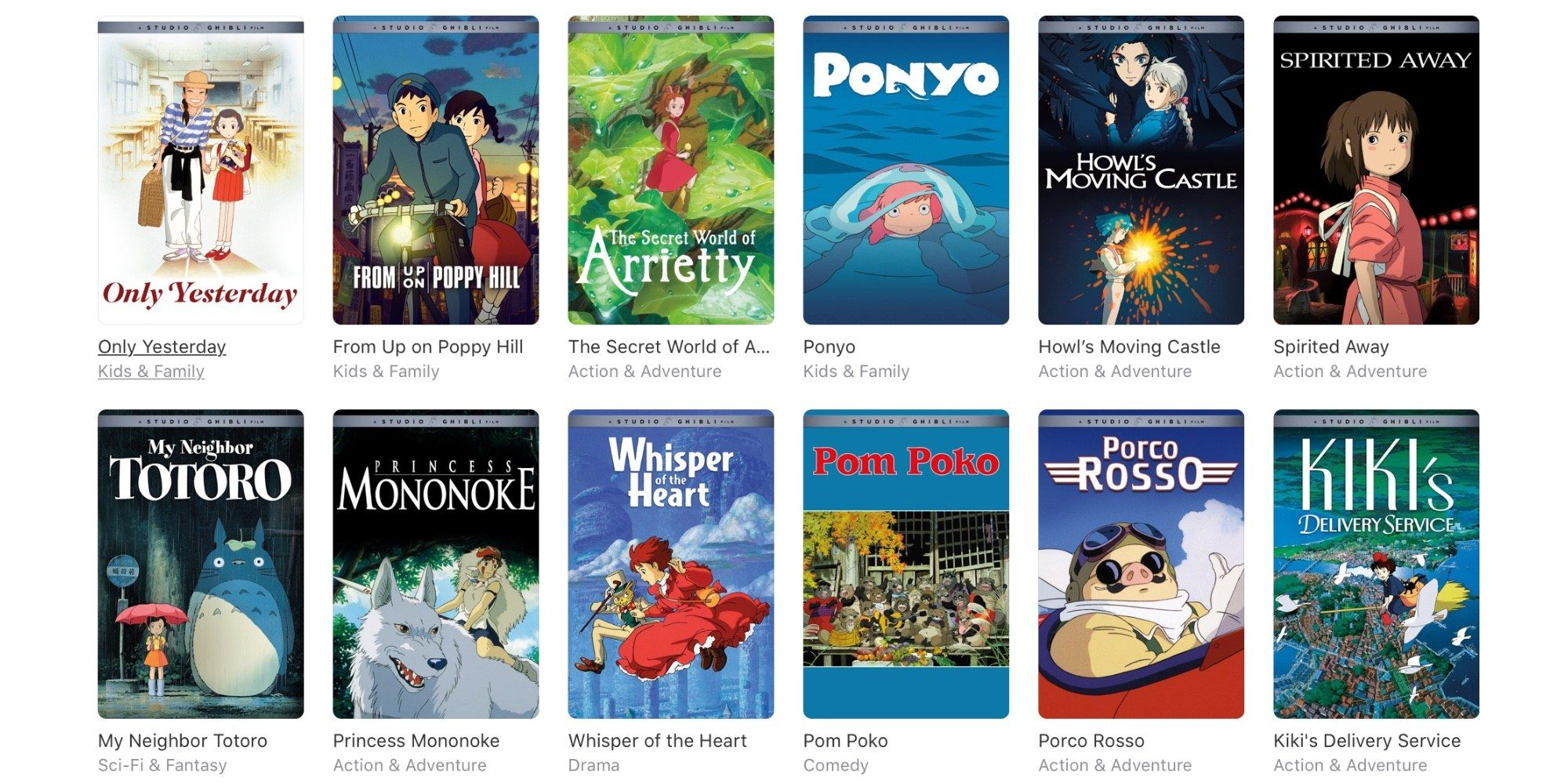 Studio Ghibli Films Now Available on iTunes Store