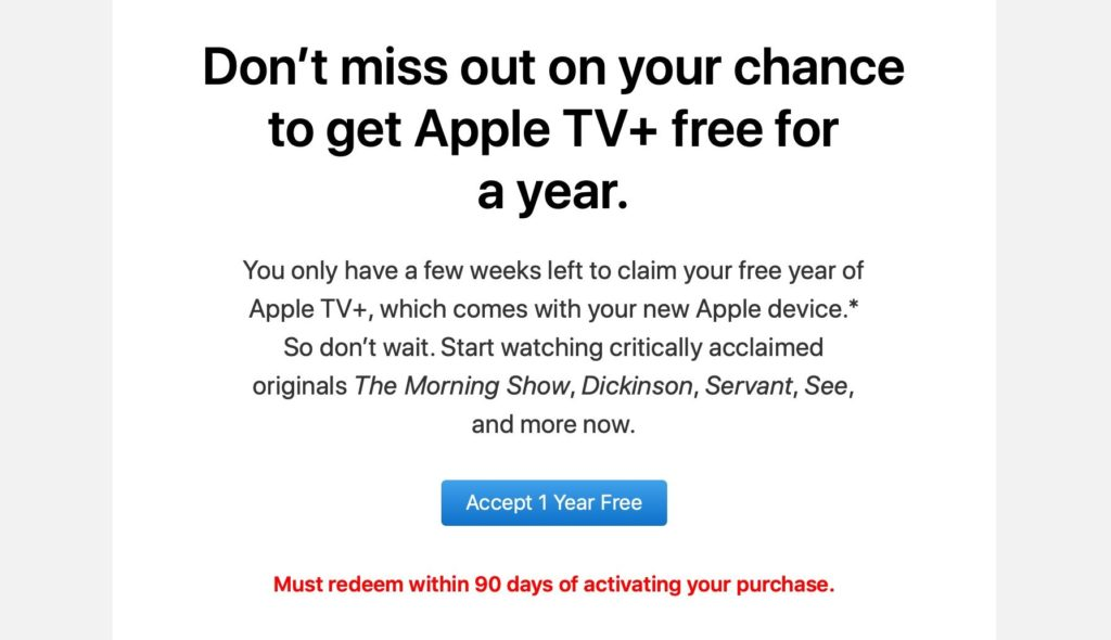 Apple sends customers reminders to activate their free 12 month Apple TV+ subscription 1