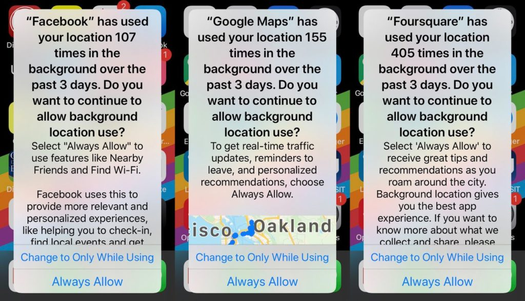 Frequent tracking reminders on iOS 13