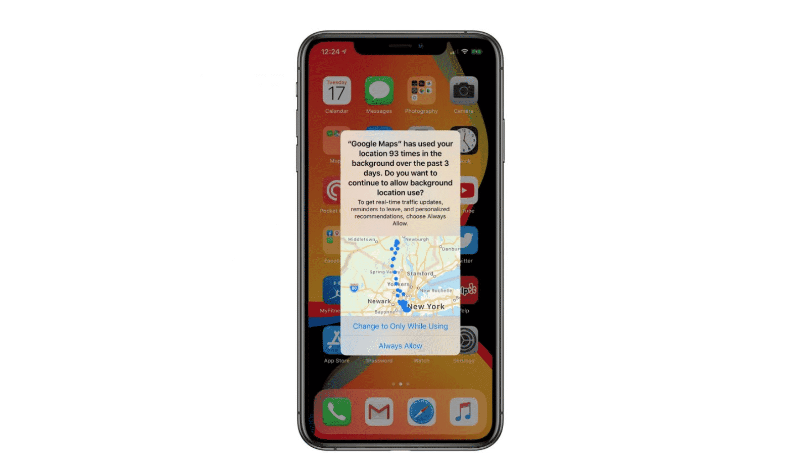 tracking reminder on iOS 13