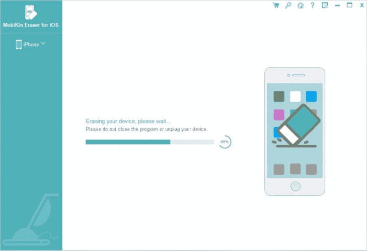 MobiKin Eraser loading on an iPhone