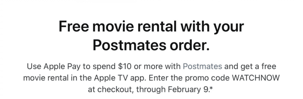 New Apple Pay promo offers 'Dinner and Movie' with Postmates