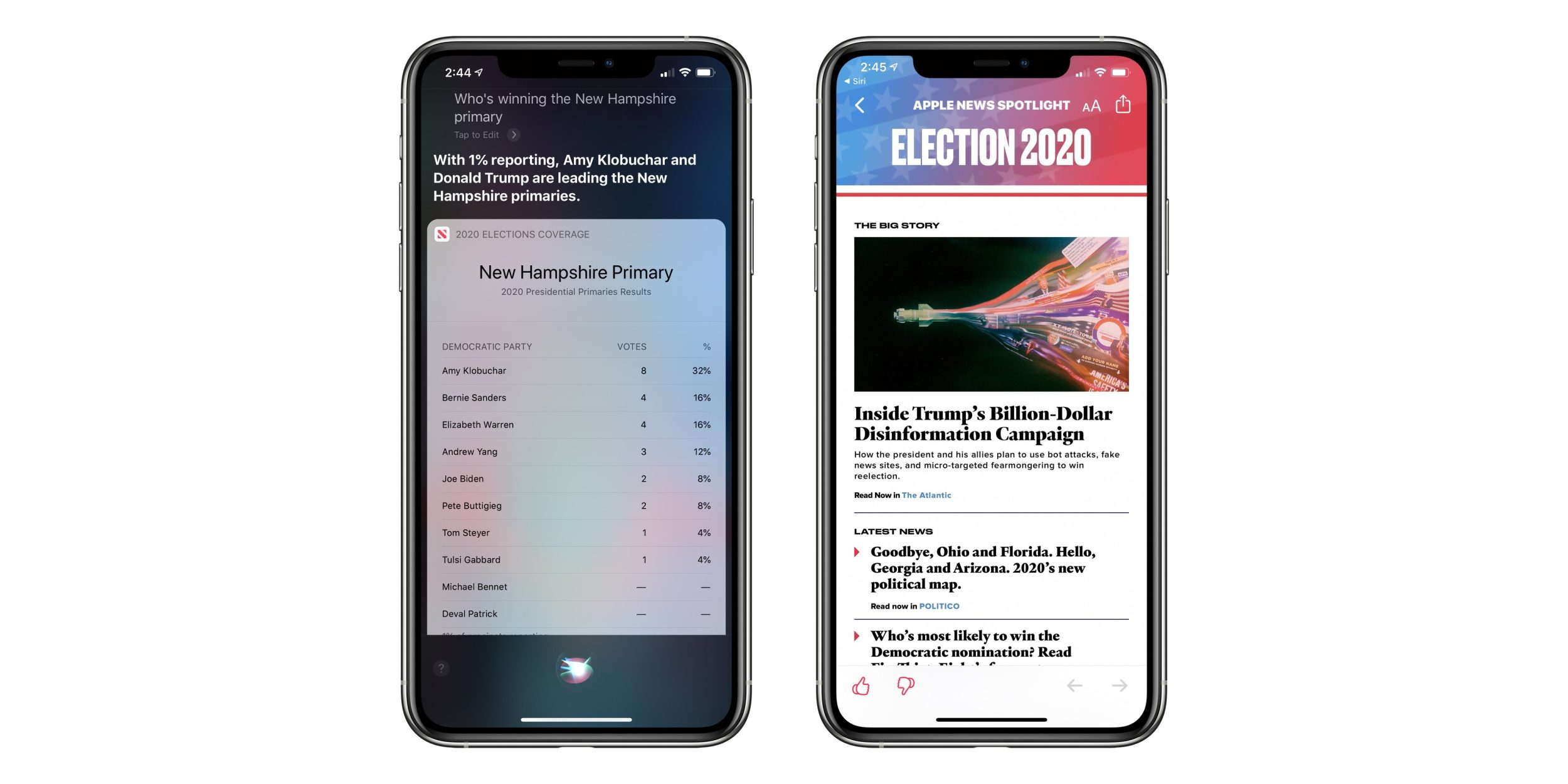 Siri Can Now Answer US Election Questions