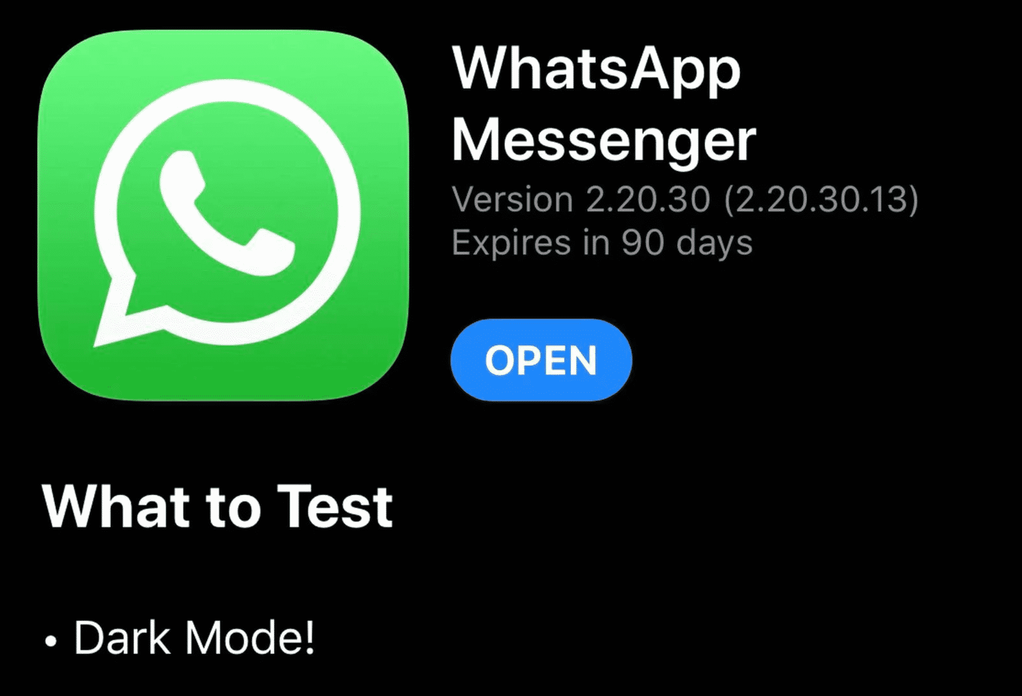 WhatsApp for iOS remains without dark mode, but not for long