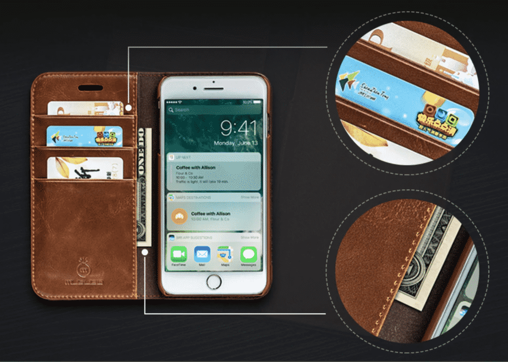 Genuine Leather Wallet Case for iPhone SE 2020
