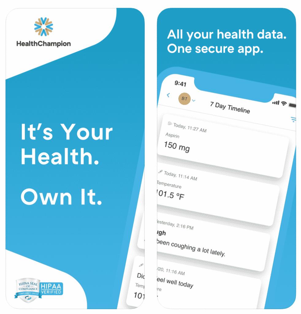 HealthChampion App in screenshot