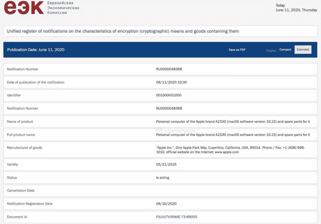 iPhones on Eurasian Economic Commission database