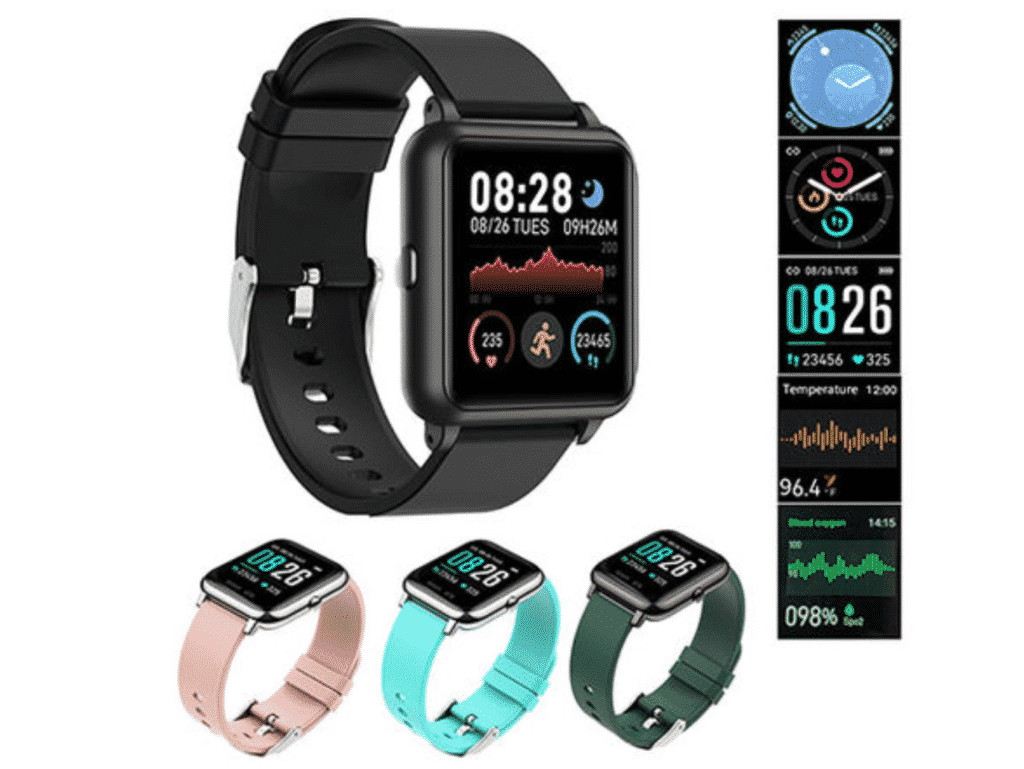 OXITEMP Smart Watch with Live Oximeter in pink, blue, green and black.