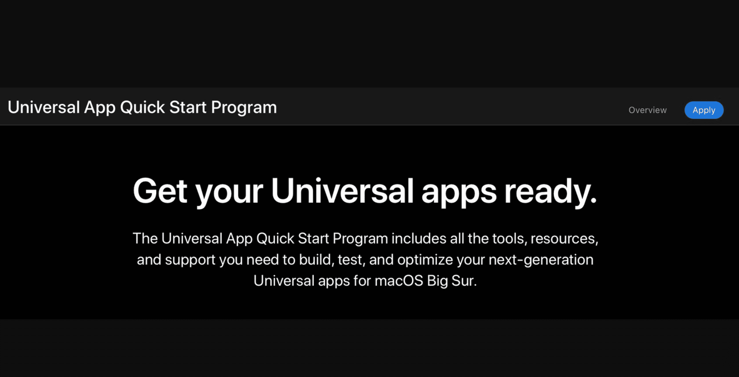 Universal App Quick Start Program