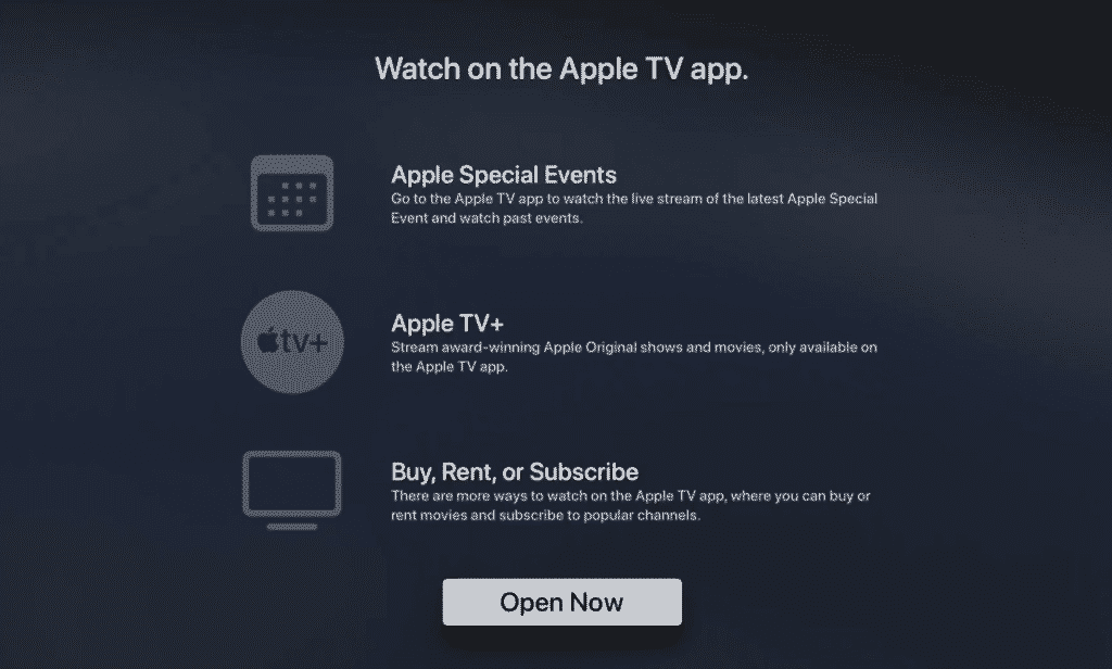 Apple includes tvOS Events App in Apple TV