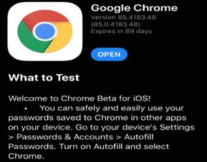 Chrome Beta for iOS