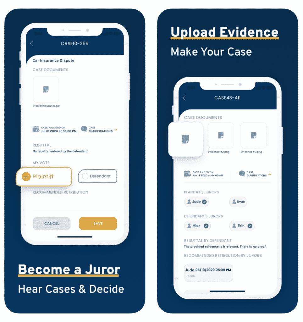 Jury App evidence uploading