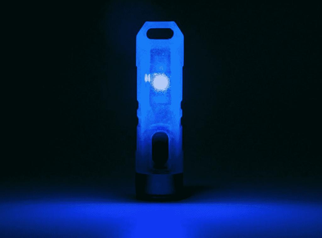 Aurora A7 GITD Keychain Flashlight in Blue color