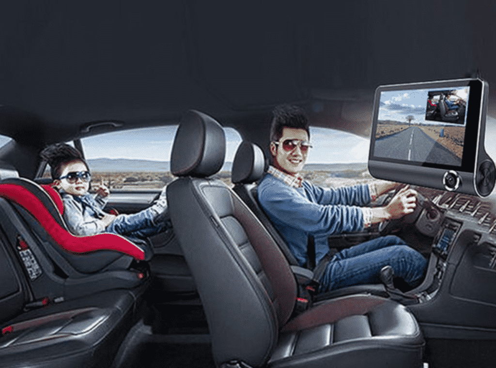 Safe Drive Dual Camera Car Dash Cam With Large Screen with a driver in the car
