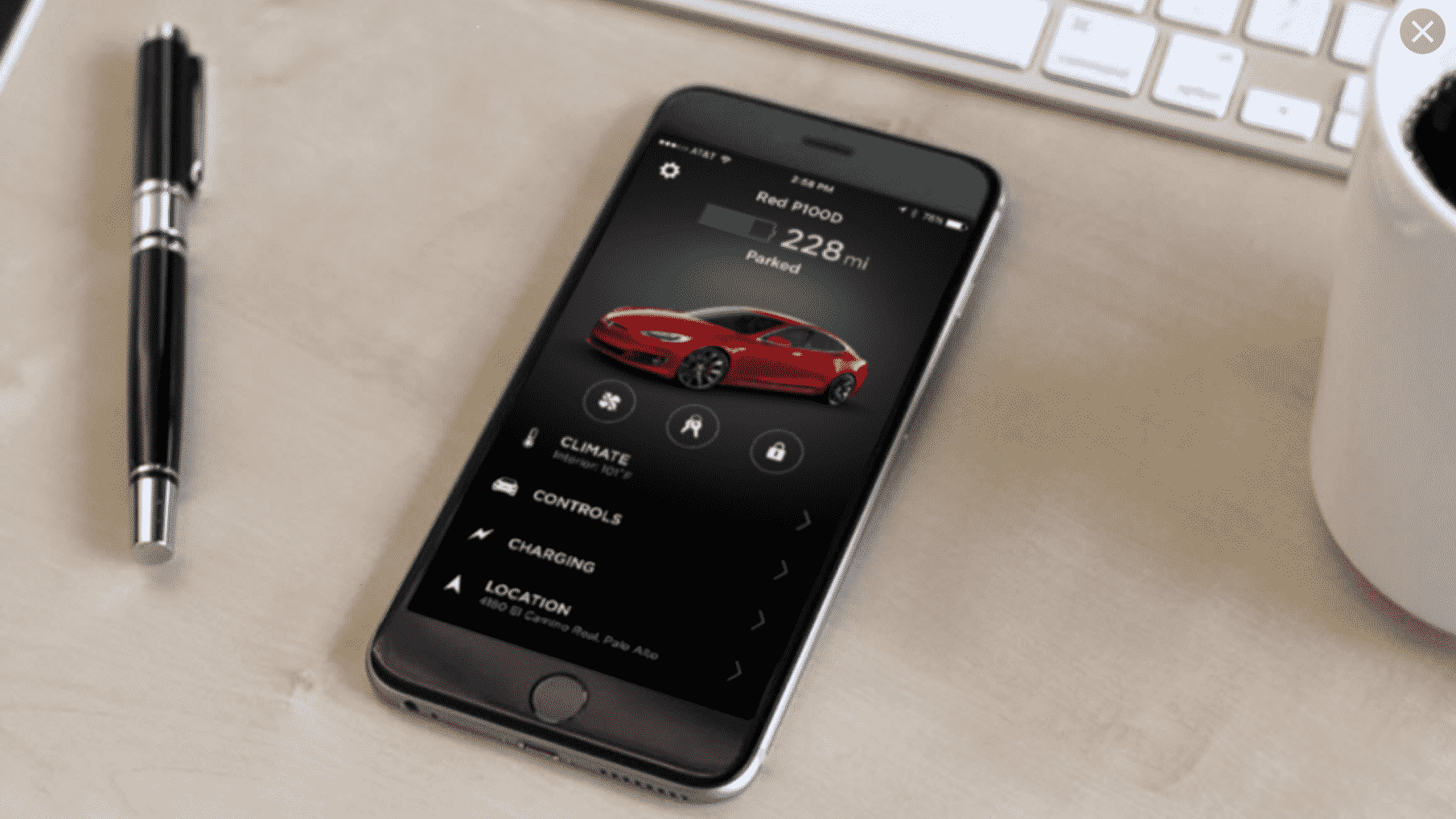 Tesla App on iOS