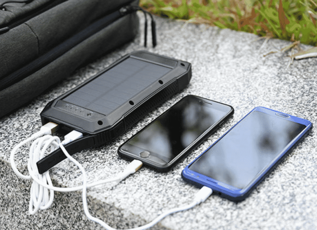 Sun Chaser 20,000mAh Solar-Powered Wireless Phone Charger with iPhones