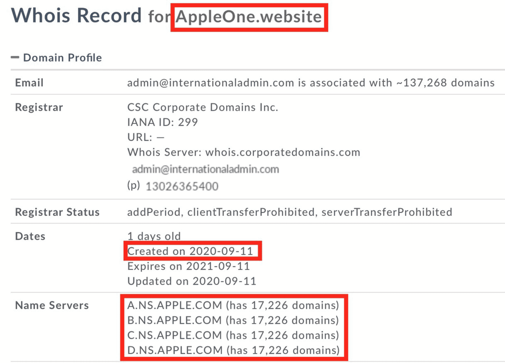 Apple One Domain WHOIS information