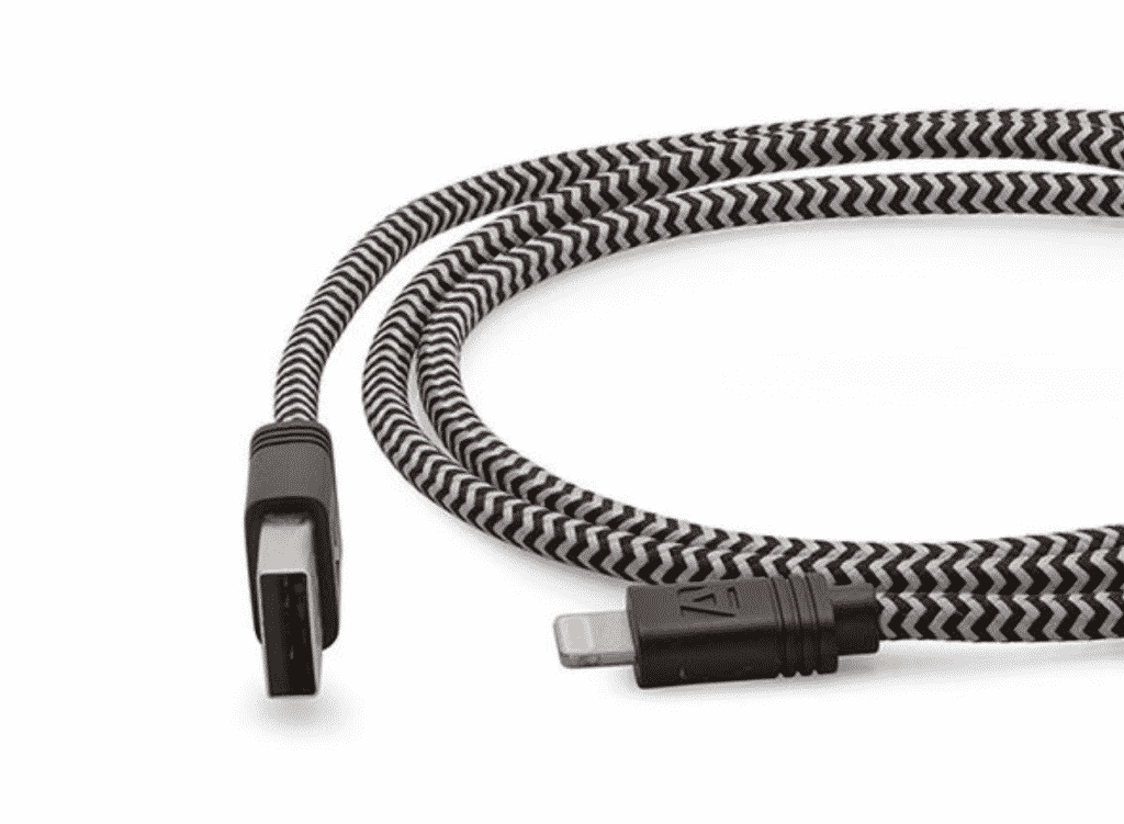 10-ft cloth MFi-certified zipper cable up close