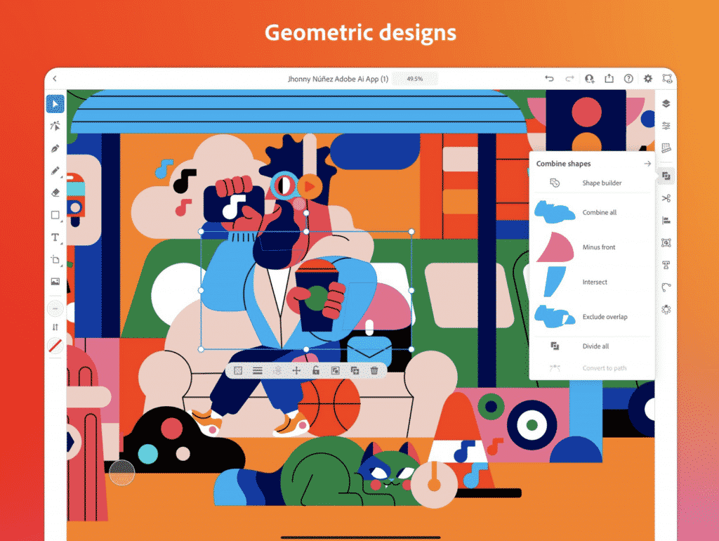 Adobe Illustrator for iPad with Geometric designs
