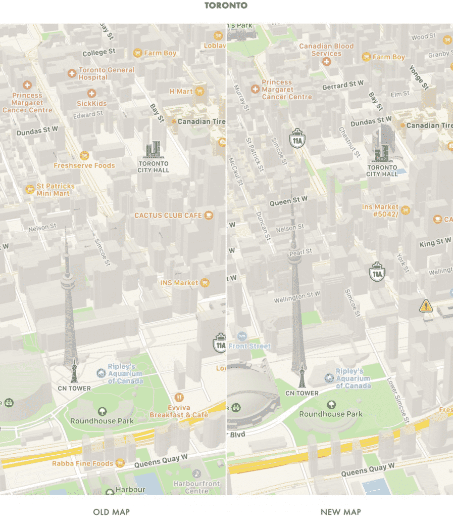 Screenshot of Toronto, Canada in Apple Maps