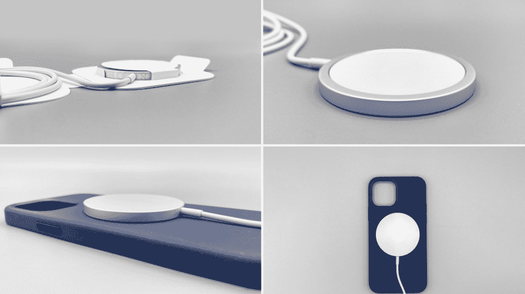 iPhone 12 and iPhone 12 Pro MagSafe case and charger in close up.
