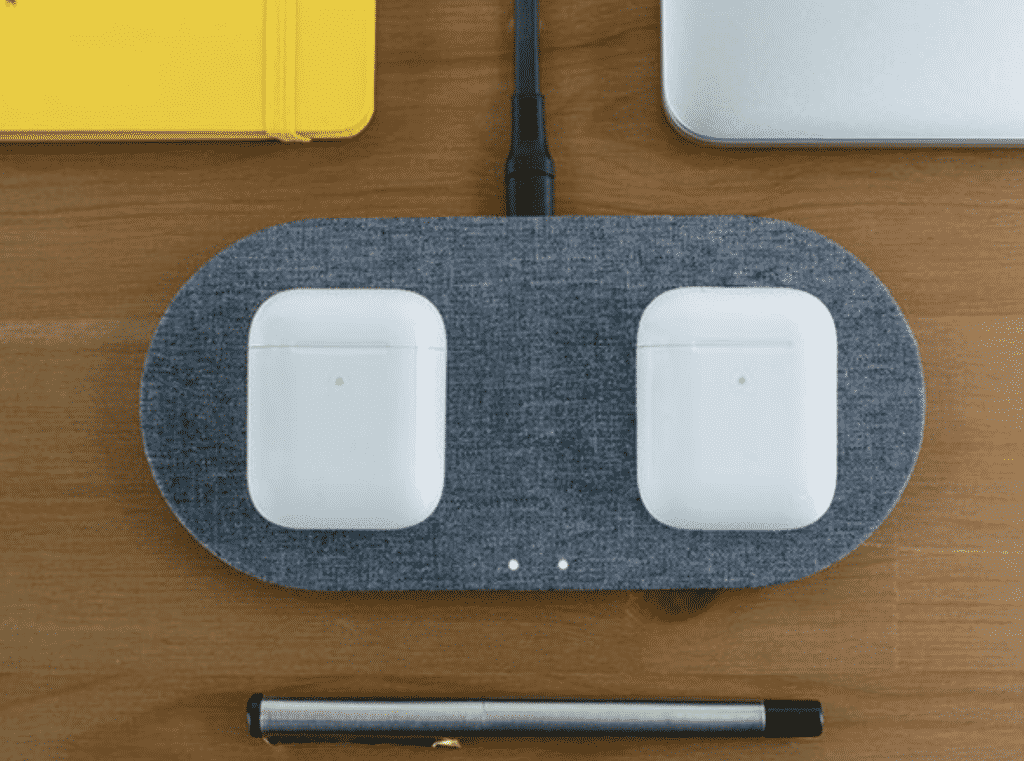 Wireless Qi Canvas Duo Device Charger with two AirPods