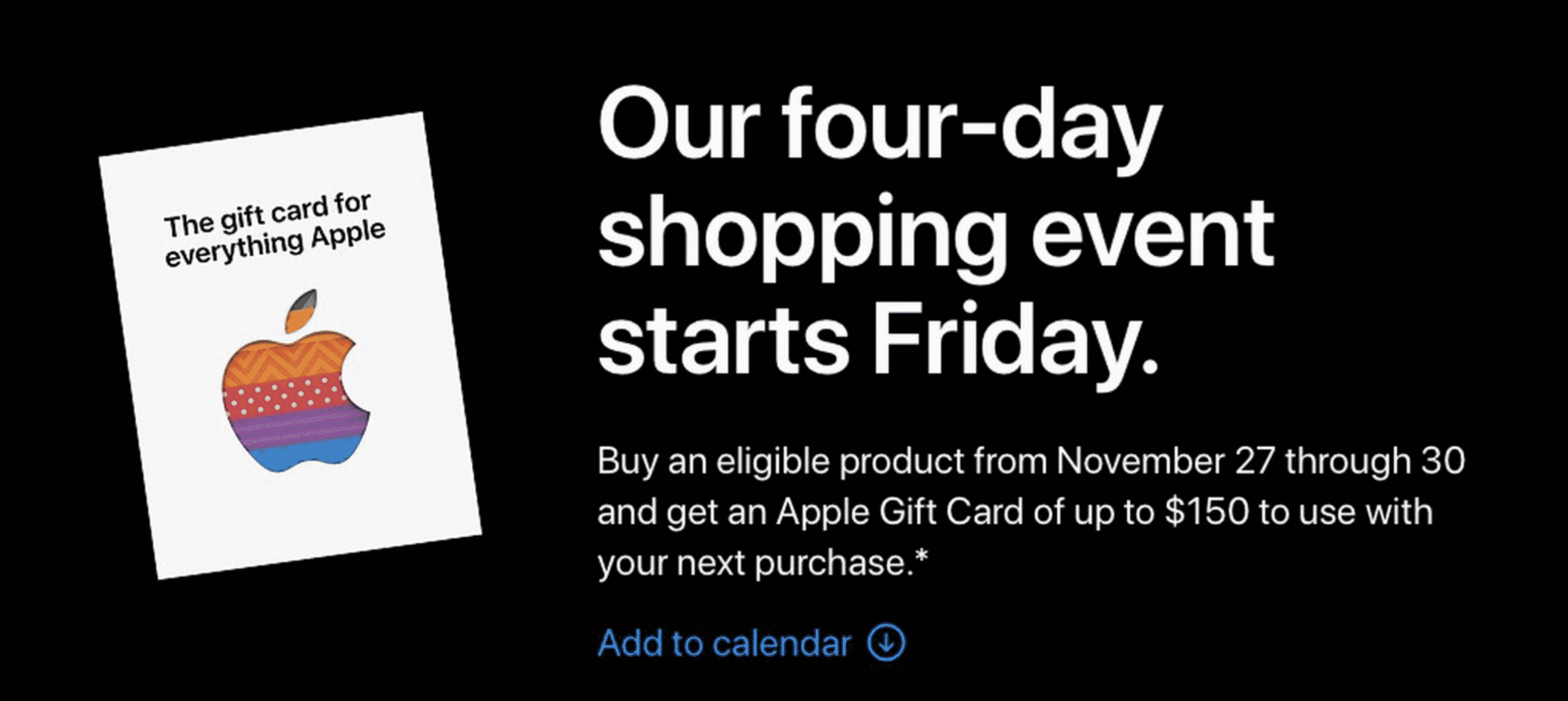 Apple 4-Day Gift Card