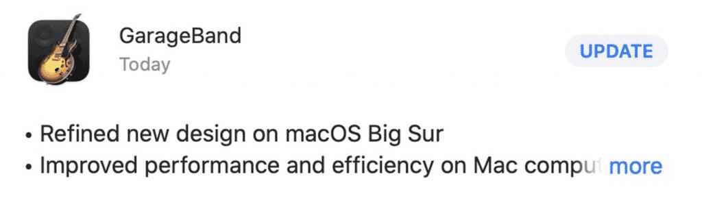 GarageBand on macOS Big Sur