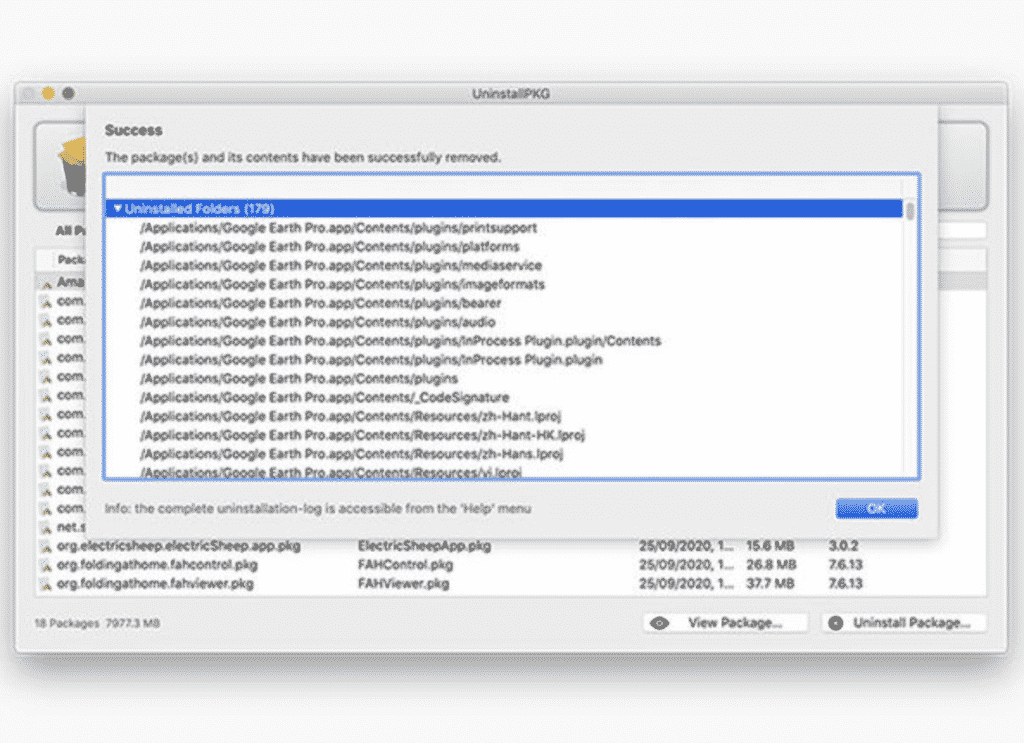 UninstallPKG Mac App with a list of files