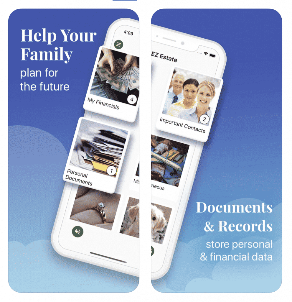 EZ Estate App documents and records