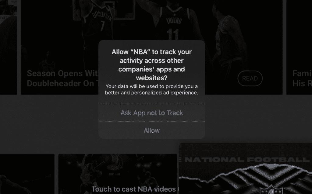 NBA tracking activity on iOS 14