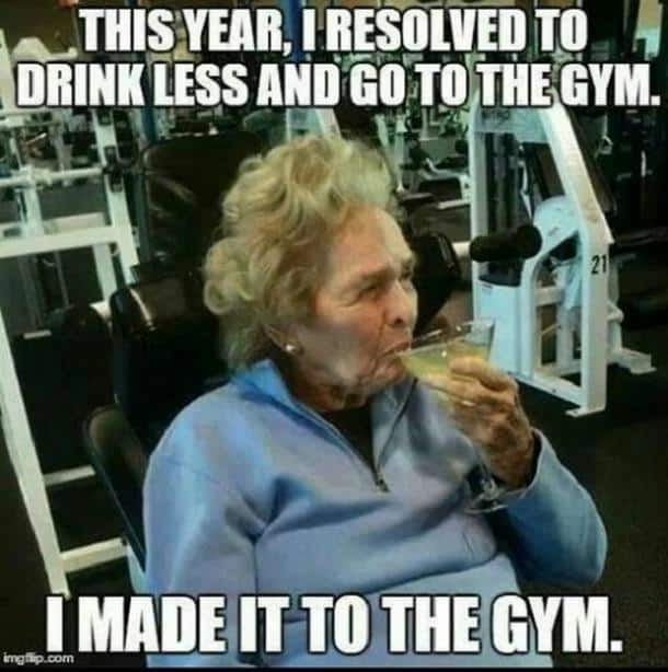 A women at the gym celebrating new year meme