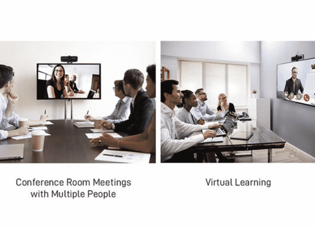 TEZL 1080P HD webcam with privacy cover with people in a meeting room